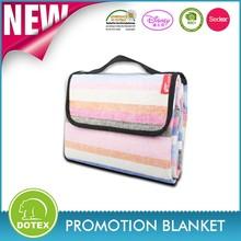 Eco-friendly promotional custom printed folding waterproof camping picnic blanket and bag / beach camping mat