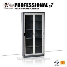 metal strong kd steel glass sliding floor filing cabinet
