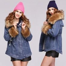 Hot sale winter Fashion Women's Big Fur Collar Warm Outerwear Coat SV010917
