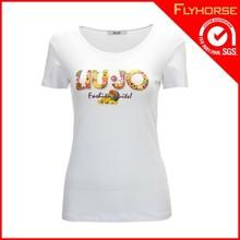 Wholesale white plain o neck t -shirt for women