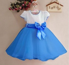 Summer New Girls Dress Bow Princess Dress,Children Lace Dress,Kids Noble Fairy dress