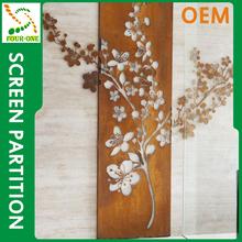 Creative design OEM manufacture newest design laser cut metal screens flower wall