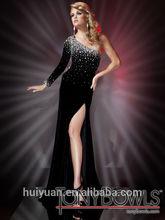 black elegant side slit sexy beaded long sleeve princess wedding gowns