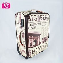 2015 promotional PU leather digital printing trolley luggage for travel