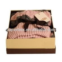 glossy black design 2mm rigid cardboard knit hat box