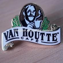 VAN HOUTTE CAFE LAPEL PIN CLUB SOUVENIR,silk printing alloy pin/badge