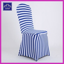 New Design Royal Blue And White Striped Print Spandex Chair Cover