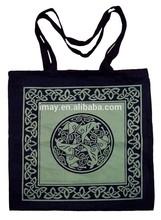 Black Sturdy Celtic Horses Tote Shoulder Bag