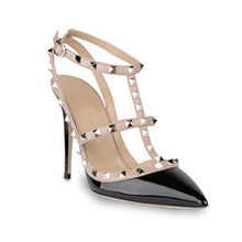 Best selling black patent leather pointed toe high heel sandals for women