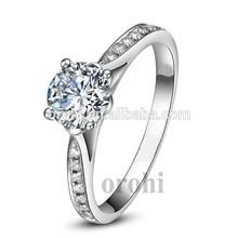 china jóia por atacado baratos do casamento anel 925 prata esterlina grande anel com pedra da cz hg529