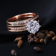 austrian crystal jewelry wholesale rose gold single stone ring for lover