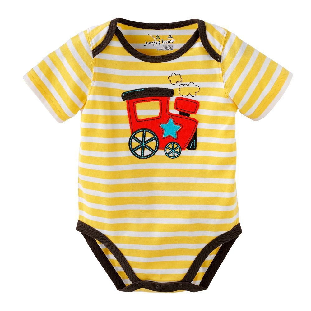 Soft Cotton Summer Baby Bodysuit Raglan Sleeve Striped Boys Rompers Applique Infant Bodysuits