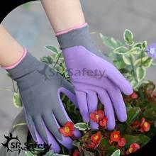 SRSAFETY 13G knitted nylon liner purple foam latex coated glove