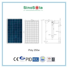 home use 12VDC Solar Battery Charger 250w poly solar panel for solar power system with TUV/PID/CEC/CQC/IEC/CE