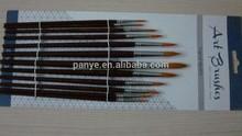 triple colored synthetic fibers short flat golden ferrule artist brush