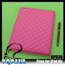 Unique fastener tartan case for ipad air ipad 5 leather case