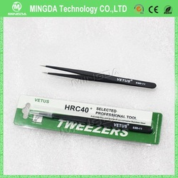 Hot selling Wholesale 120mm HRC40 stainless steel tweezers ESD-11 High precise ESD tweezers for cleanroom