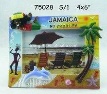 polyresin photo frame JAMAICA rasta palm tree and dolphin design