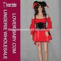 Clássico Red Off ombro mangas compridas pirata Robber Sexy Costume Sexy traje de luxo