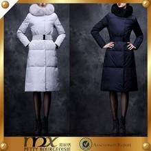 2015 fashion long duck down with fox collar women down coat