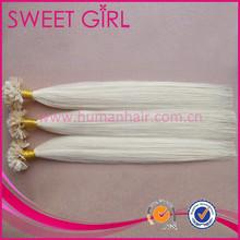 hot keratin cheap virgin hair pro-bonded flat tip hair extension blonde girl white woman