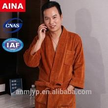 degli uomini kimono di cotone senza maniche taglio accappatoio di velluto