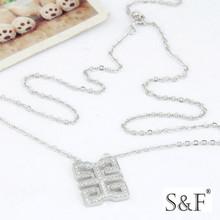 550103 Rhodium plated square handmade jewelry