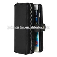 Tough Leather Wallet &Zipper Card Case Cover for iPhone 6,zipper leather case for iphone 6