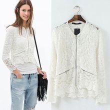 HFR-T1212 Lace crochet pierced slim ladies designer summer coat