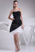 Elegant Modern dress for girls with Sweetheart Ruched White Tulle and Black Taffeta Cocktail Dress 4176