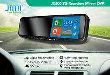 JIMI JC600 Android 4.2 GPS Navi Tracker 1080P DVR WIFI 3G Network BT 8M Camera Rearview Mirror, 3g mobile dvr