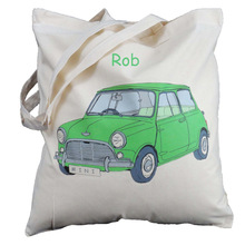 personalised green mini cotton tote bag