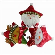 Christmas kids gift Santa Claus snow man and dear applique star shape plush toy cushion