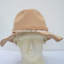 Men beige cheap fedora faux wool felt hat