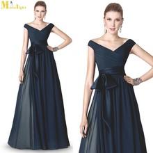 ED-524 Latest Style V Neck Cap Sleeve Chiffon Long Evening Dresses With Ribbon Sash
