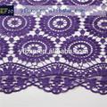 2014 elegante diseño de moda cuerda nigeriano cordones/austriaca de color púrpura de tela de encaje/estilo africano cordón francés para la ropa las mujeres
