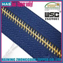 Hot sell quality gold brass zipper slider for decorated dress metal teeth zipper roll