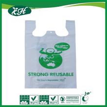 wholesale EN13432 SGS 3rd-audited cornstarch compostable T shirt shopping bag