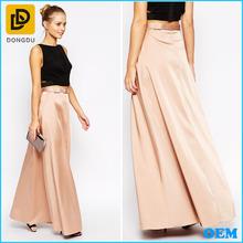 Elegant smooth satin belted waist plus size formal skirt long maxi skirt