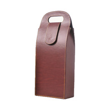luxury pu leather wine carrier for 2 bottles