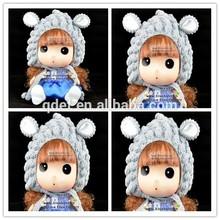wholesale gray little lamb knitted children winter hats, knitted beanie for girl , knit crochet animal hats