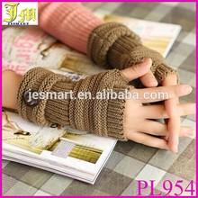 Wholesale Spring Autumn Winter Women Wool Arm Gloves Button Knitted Mitten Lengthen Half Finger Gloves