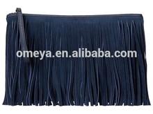 Top-zipper closur leather trim clutch bags for women