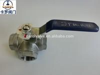 Stainless steel 3 way ball valve, ball valve cf8m 1000 wog screwed end