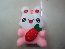 Pink color plush bunny with carrot