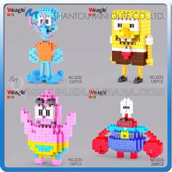 Mini Qute 4 styles SpongeBob SquarePants Weagle diamond nano plastic cube building blocks cartoon model educational toy NO.2235
