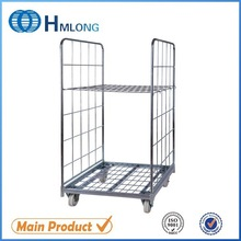 Folding logistic warehouse wire mesh cage trolley