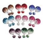 Fahionable Shambhala Full Crystal Rhinestones Polymer Clay Ball Double Stud Earrings