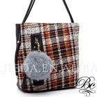 adjustable handle big pocket scotch tartan cloth rabbit fur shoulder bag