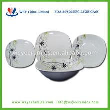 19pcs square shape ceramic tableware,spanish ceramic dinnerware